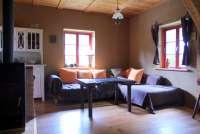 Ferienhaus Apfelhof in Tressow Wohnzimmer und Aufbettung
